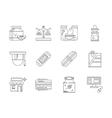 Pharmacy flat line icons set vector image