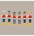 team of construction worker wearing helmet vector image