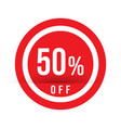 50 percent off - red sale stamp - special offer vector image vector image