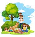 a family picnic at park vector image