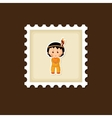 American Indian children stamp Thanksgiving day vector image vector image