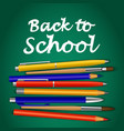 back to school green concept background realistic vector image