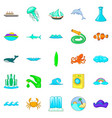 backwash icons set cartoon style vector image vector image