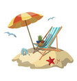 cartoon island in the sea with a chaise longue and vector image vector image