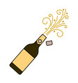 champagne bottle explosion drink celebration vector image vector image