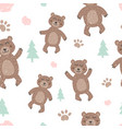 childish seamless pattern with cute bear creative vector image vector image