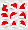 christmas santa claus hats with fur set sock vector image vector image