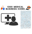 computer doctor icon with 1300 medical business vector image vector image