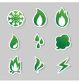 fire freeze steam water icons vector image vector image