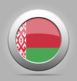flag of belarus metal gray round button vector image