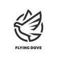 flying dove linear logo symbol vector image