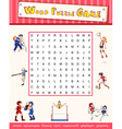Game template with word puzzle about sports vector image vector image