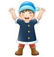 happy boy in blue santa claus costume vector image