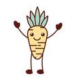 kawaii carrot vegetable funny food cartoon vector image