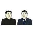kim jong-un and moon jae-in portrait flat design vector image vector image