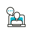 laptop video chat blog social media icon line and vector image