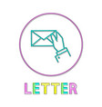 letter round linear icon with envelope in hand vector image