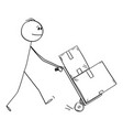 man pushing hand truck concept delivery vector image