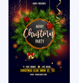 merry christmas party invitation poster with main vector image vector image
