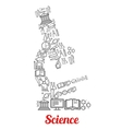Microscope emblem shaped by science icons vector image vector image