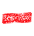 open now red grunge rubber stamp vector image