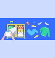 packing clothes in a suitcase for travel vector image vector image