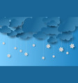 paper art and craft style of cloud and snowfall vector image