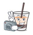 photographer white russian mascot cartoon vector image