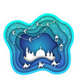 ramadan kareem background mosque lanterns moon vector image vector image