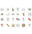 Restaurant food colorful icons set vector image vector image