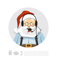santa claus with headset character vector image vector image