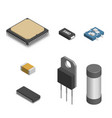 set of different electronic components in 3d vector image vector image