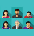 set of modern indian people in portait vector image vector image