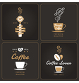 Set of vertical coffee shop badges and labels vector image vector image