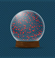 snow globe with falling hearts vector image