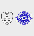 stroke medical shield icon and grunge no vector image vector image
