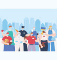 thank you essential workers concept group team vector image