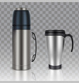 thermos thermo cup realistic mockup set vector image vector image