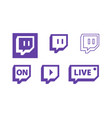 twitch live gaming video icon logo design vector image vector image