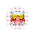 Two glasses of champagne comics icon vector image vector image