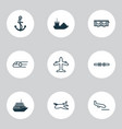 vehicle icons set with air transport motorboat vector image vector image