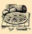 vintage scetch with pizza and ingredients vector image