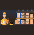Warehouse manager or worker in warehouse interior