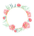 watercolor red peony with round golden wreath vector image vector image