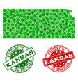 welcome composition of map of kansas state and vector image