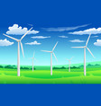 white wind generators mills wind turbine on green vector image