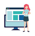 woman with smartphone and social network profile vector image vector image