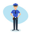 policeman with ammunition working in place vector image