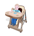 Eating baby in chair for babies vector image