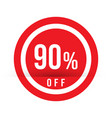 90 percent off - red sale stamp - special offer vector image